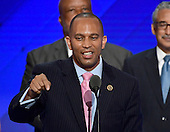 United States Representative Hakeem Jefferies (Democrat of New York) makes remarks during the third session of the 2016 Democratic National Convention at the Wells Fargo Center in Philadelphia, Pennsylvania on Wednesday, July 27, 2016.<br /> Credit: Ron Sachs / CNP<br /> (RESTRICTION: NO New York or New Jersey Newspapers or newspapers within a 75 mile radius of New York City)