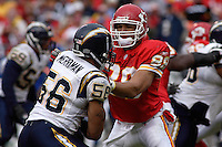 Chiefs tight end Tony Gonzalez blocks San Diego Chargers linebacker Shawne Merriman during the second half at Arrowhead Stadium  in Kansas City, MO on October 22, 2006. The Chiefs won 30-27.
