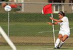 BROOKINGS, SD - AUGUST 23:  Alyssa Brazil #15 from South Dakota State University hits a corner kick against Iowa State in the first half of their contest Friday evening at Fischback Soccer Field in Brookings. (Photo by Dave Eggen/Inertia)