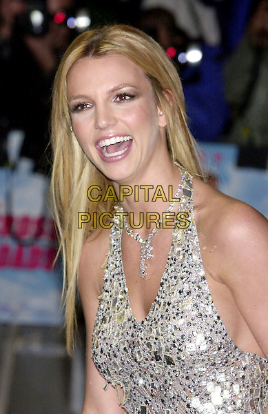 "BRITNEY SPEARS.Arrivals at ""Cross Roads"" Film Premiere, Odeon cinema, Leicester Square .crossroads, diamond necklace, halter neck, silver, metallic, laughing, headshot, portrait.www.capitalpictures.com.sales@capitalpictures.com.©Capital Pictures"