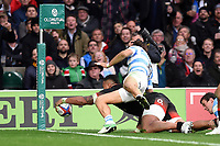 Nathan Hughes of England scores a try in the first half. Old Mutual Wealth Series International match between England and Argentina on November 11, 2017 at Twickenham Stadium in London, England. Photo by: Patrick Khachfe / Onside Images