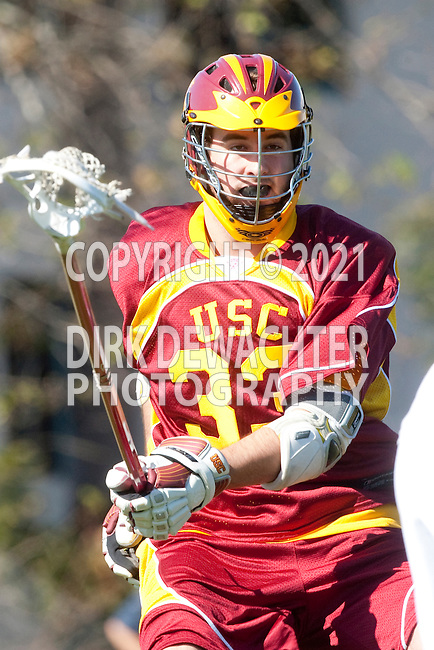 Los Angeles, CA 02/20/10 - Jacob Pontes (USC # 33) in action during the USC-Loyola Marymount University MCLA/SLC divisional game at Leavey Field (LMU).  LMU defeated USC 10-7.