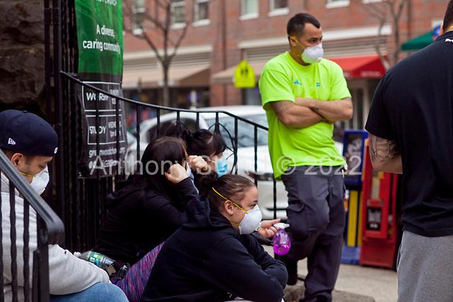 Brooklyn, New York<br /> March 20, 2020<br /> 1:51 PM<br /> <br /> Brooklyn under the coronavirus pandemic. <br /> <br /> People outside the emergency entrance to New York-Presbyterian Brooklyn Methodist Hospital in Park Slope, Brooklyn.