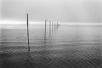 Usa. Utah. Great Salt Lake. Rusty poles. Still salty water. © 1998 Didier Ruef