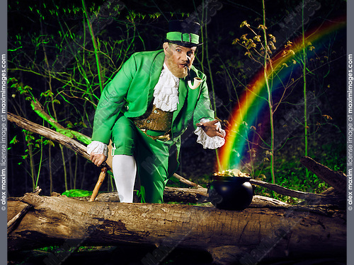 Funny Leprechaun stealing a pot of gold in a forest, artistic St. Patrick's holiday concept.