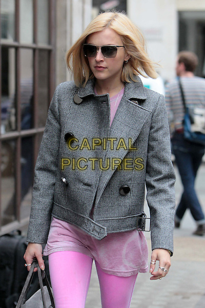 Fearne Cotton arriving at the studios of BBC Radio 1, London, England..July 19th, 2011.half length sunglasses shades pink leggings playsuit dress velvet grey gray jacket .CAP/HIL.©John Hillcoat/Capital Pictures .