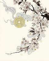 Blossom branch with circle pattern