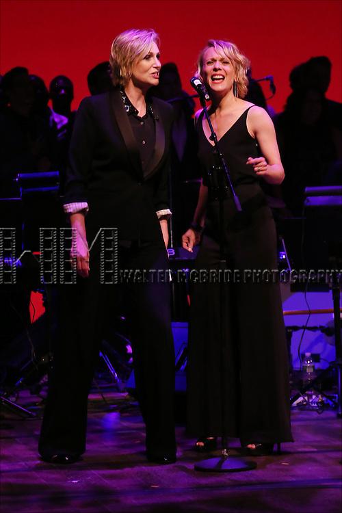 Jane Lynch and cast performing at 'Uprising Of Love: A Benefit Concert For Global Equality' at the Gershwin Theatre on September 15, 2014 in New York City.