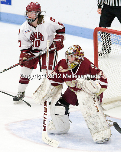 Gina McDonald (Harvard - 10), Corinne Boyles (BC - 29) - The Boston College Eagles defeated the Harvard University Crimson 4-2 in the 2012 Beanpot consolation game on Tuesday, February 7, 2012, at Walter Brown Arena in Boston, Massachusetts.