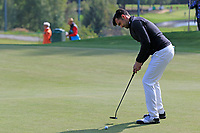 Lee Slattery (ENG) putts on the 11th green during Thursday's Round 1 of the 2017 Omega European Masters held at Golf Club Crans-Sur-Sierre, Crans Montana, Switzerland. 7th September 2017.<br /> Picture: Eoin Clarke | Golffile<br /> <br /> <br /> All photos usage must carry mandatory copyright credit (&copy; Golffile | Eoin Clarke)