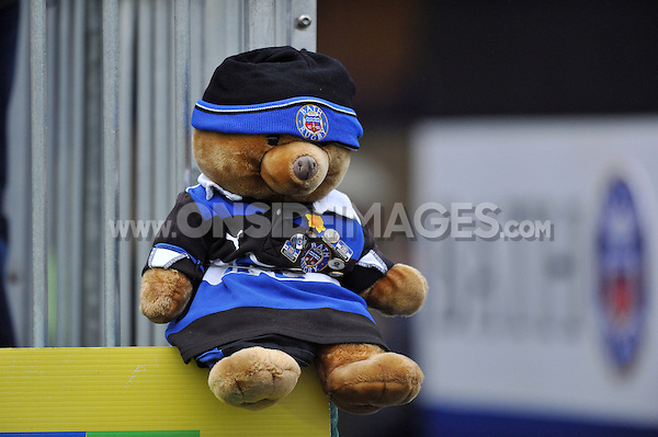 A view of a Bath Rugby teddy bear placed on the terracing by supporters. Amlin Challenge Cup match, between Bath Rugby and Agen on January 12, 2013 at the Recreation Ground in Bath, England. Photo by: Patrick Khachfe / Onside Images