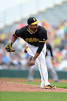 Pitcher Francisco Liriano (47) of the Pittsburgh Pirates during a spring training game against the New York Yankees on February 26, 2014 at McKechnie Field in Bradenton, Florida.  Pittsburgh defeated New York 6-5.  (Mike Janes/Four Seam Images)