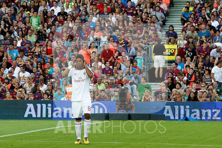 Milan's Ronaldinho during Joan Gamper Trophy. August 25,2010. (ALTERPHOTOS/Acero)