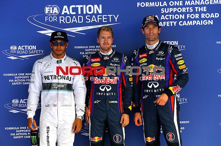 03.06.10.2013, Korea-International-Circuit, Yeongam, KOR, F1, Gro&radic;&uuml;er Preis von S&radic;ľdkorea, Yeongam, im Bild Lewis Hamilton (GBR), Mercedes GP - Sebastian Vettel (GER), Red Bull Racing - Mark Webber (AUS), Red Bull Racing <br /> for Austria &amp; Germany Media usage only!<br />  Foto &not;&copy; nph / Mathis