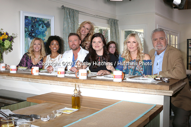 "LOS ANGELES - APR 14:  Kym Douglas, Karla Mosley, Jacob Young, Paige Hemmis Heather Tom, Katherine Kelly Lang, John McCook at the ""Home and Family"" Celebrates ""Bold and Beautiful's"" 30 Years at Universal Studios Back Lot on April 14, 2017 in Los Angeles, CA"
