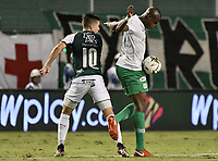 PALMIRA - COLOMBIA, 26-05-2019: Agustin Palavecino del Cali disputa el balón con Brandon Caicedo de Nacional durante partido entre Deportivo Cali y Atlético Nacional por la fecha 4, cuadrangulares semifinales, de la Liga Águila I 2019 jugado en el estadio Deportivo Cali de la ciudad de Palmira. / Agustin Palavecino of Cali vies for the ball with Brandon Caicedo of Nacional during match between Deportivo Cali and Atletico Nacional for the date 4, semifinal quadrangulars, as part Aguila League I 2019 played at Deportivo Cali stadium in Palmira city.  Photo: VizzorImage / Gabriel Aponte / Staff