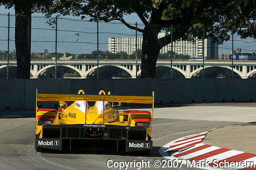 31 August 2007: The Penske Motorsports Porsche RS Spyder driven by Sascha Maassen (DEU) and Ryan Briscoe (AUS) at the Detroit Sports Car Challenge presented by Bosch, Detroit, MI