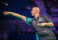 12th March 2020; M and S Bank Arena, Liverpool, Merseyside, England; Professional Darts Corporation, Unibet Premier League Liverpool; Rob Cross throws a dart