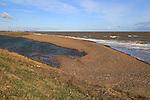 Beach bar shingle lagoon, East Lane,Bawdsey, Suffolk, England, UK