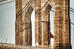 Close up of Brooklyn Bridge, New York City, USA.