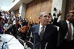 Former Guatemalan dictator, Efrain Rios Montt enters the courtroom in the Supreme Court of Justice Guatemala CIty March 19, 2013.