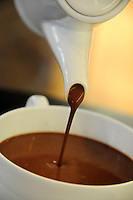 hot chocolate pouring