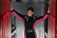 Feb. 15, 2013; Pomona, CA, USA; NHRA top fuel dragster driver Leah Pruett poses for a portrait during qualifying for the Winternationals at Auto Club Raceway at Pomona. Mandatory Credit: Mark J. Rebilas-