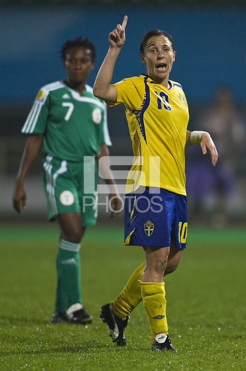 Sweden forward (10) Hanna Ljungberg. Sweden (SWE) tied Nigeria (NGA) 1-1 during a FIFA Women's World Cup China 2007 opening round Group B match at Chengdu Sports Center Stadium, Chengdu, China, on September 11, 2007.