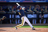 Michigan Wolverines center fielder Cody Bruder (3) at bat during the second game of a doubleheader against the Canisius College Golden Griffins on February 20, 2016 at Tradition Field in St. Lucie, Florida.  Michigan defeated Canisius 3-0.  (Mike Janes/Four Seam Images)