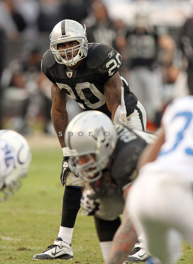 DARREN MCFADDEN, of the Oakland Raiders in action durIng the Raiders game against the Indianapolis Colts at Oakland-Alameda County Coliseum in Oakland, California on December 26, 2010...Colts beat the Raiders 31-26