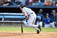 Augusta GreenJackets second baseman Shane Matheny (15) swings at a pitch during a game against the Asheville Tourists at McCormick Field on April 4, 2019 in Asheville, North Carolina. The GreenJackets defeated the Tourists 9-5. (Tony Farlow/Four Seam Images)