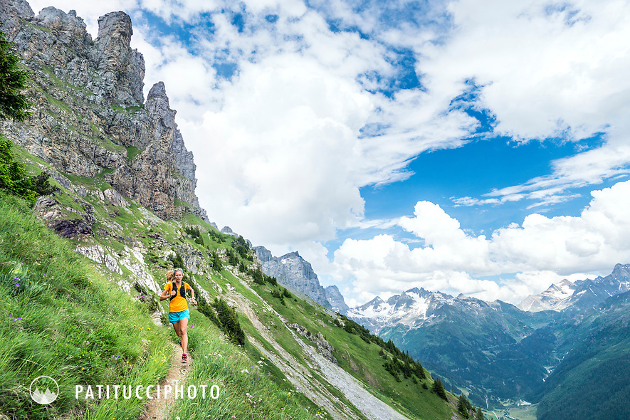 Trail running in the Swiss Alps from Engstlenalp, near the Susten Pass. Switzerland.