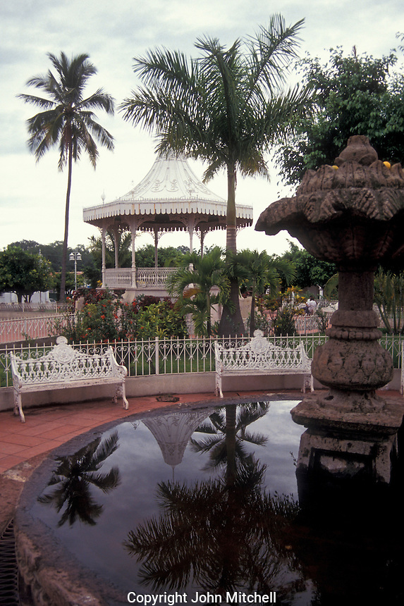Main plaza in the village of Comala in the state of Colima, Mexico