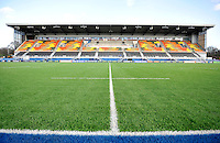 Hendon, England. General view of Allianz Park Stadium   during the LV= Cup match for the first professional rugby game on the artificial turf pitch made for rugby between Saracens and Cardiff Blues at Allianz Park Stadium on January 27, 2013 in Hendon, England.