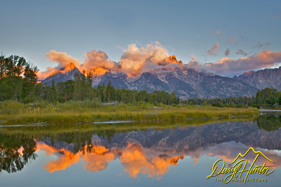 Shwabackers Landing Reflecton Sunrise, Jackson Hole, Grand Teton National Park, Wyoming