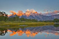 Shwabackers Landing Reflecton Sunrise, Jackson Hole, Grand Teton National Park, Wyoming