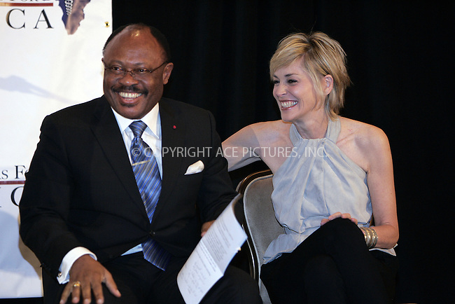 WWW.ACEPIXS.COM . . . . . ....April 16 2009, LA....Executive Secretary, African Synergy Against AIDS and Suffering, Jean Stephane Biatcha and actress Sharon Stone at aUS Doctors for Africa press conference announcing the African First Ladies' Health Summit & Gala at the Beverly Hilton Hotel on April 16, 2009 in Beverly Hills, California.....Please byline: JOE WEST- ACEPIXS.COM.. . . . . . ..Ace Pictures, Inc:  ..(646) 769 0430..e-mail: info@acepixs.com..web: http://www.acepixs.com