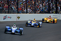 Verizon IndyCar Series<br /> Indianapolis 500 Race<br /> Indianapolis Motor Speedway, Indianapolis, IN USA<br /> Sunday 28 May 2017<br /> Takuma Sato, Andretti Autosport Honda, Alexander Rossi, Andretti Herta Autosport with Curb-Agajanian Honda, Ryan Hunter-Reay, Andretti Autosport Honda<br /> World Copyright: F. Peirce Williams<br /> LAT Images