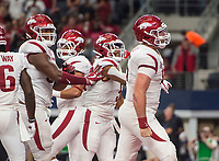 Hawgs Illustrated/Ben Goff<br /> Cole Kelley, Arkansas quarterback, celebrates after scoring a touchdown in the 2nd quarter vs Texas A&M Saturday, Sept. 29, 2018, during the Southwest Classic at AT&T Stadium in Arlington, Texas.