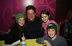 Shrek's Christopher Sieber poses with Marissa O'Donnell, Leah Greenhaus & Adam Riegler (all in Shrek) at the 13th Kids Night on Broadway at Madame Toussaud's Wax Museum in New York City. It is now possible for kids to go free to Broadway plays with a paying adult each month. Also many Broadway actors gave their time to signing for the kids. (Photo by Sue Coflin/Max Photos)