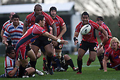 Chad Tuoro gets his pass away as he is taken to ground. Air New Zealand Air NZ Cup warm-up rugby game between the Counties Manukau Steelers & Tasman Mako's, played at Growers Stadium Pukekohe on Sunday July 20th 2008..Counties Manukau won the match 30 - 7.