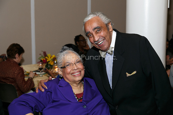 NEW YORK, NY - APRIL 3: Charles B. Rangel, Dr. Phyllis Harrison-Ross pictured as David N. Dinkins, 106th Mayor of the City of New York, receives the Dr. Phyllis Harrison-Ross Public Service Award for a lifetime of public service at the New York Society of Ethical Culture in New York City on April 3, 2014. Credit: Margot Jordan/MediaPunch