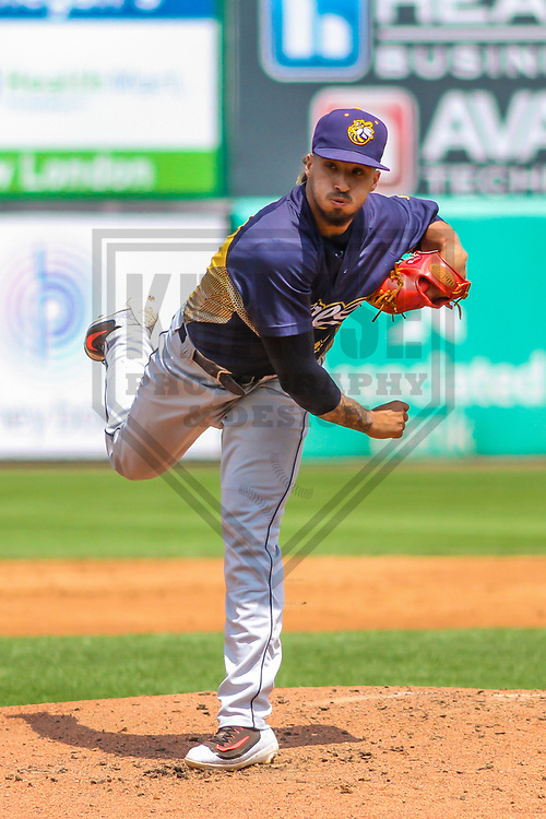 Burlington Bees pitcher Erik Manoah (22) during a Midwest League game against the Wisconsin Timber Rattlers on July 10, 2017 at Fox Cities Stadium in Appleton, Wisconsin.  Burlington defeated Wisconsin 6-3. (Brad Krause/Krause Sports Photography)