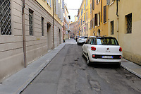 The street Via Stella which is where the restaurant Osteria Francescana is located in Modena, Italy. Photo Sydney Low