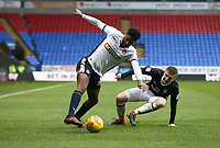 Bolton Wanderers' Mark Little wins the ball from Matt Targett of Fulham<br /> <br /> Photographer Leila Coker/CameraSport<br /> <br /> The EFL Sky Bet Championship - Bolton Wanderers v Fulham - Saturday 10th February 2018 - Macron Stadium - Bolton<br /> <br /> World Copyright &copy; 2018 CameraSport. All rights reserved. 43 Linden Ave. Countesthorpe. Leicester. England. LE8 5PG - Tel: +44 (0) 116 277 4147 - admin@camerasport.com - www.camerasport.com
