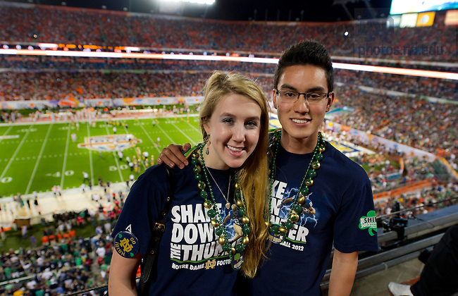 Jan. 7, 2013; Notre Dame students at the 2013 BCS Championship in Miami, Florida. Photo by Barbara Johnston/University of Notre Dame