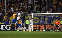 Thursday 29 August 2013<br /> Pictured L-R: Mid air battle for a header between Geraldo Alves of Petrolul Ploiesti and Rory Donnelly of Swansea City.<br /> Re: Petrolul Ploiesti v Swansea City FC UEFA Europa League, play off round, 2nd leg, Ploiesti, Romania.