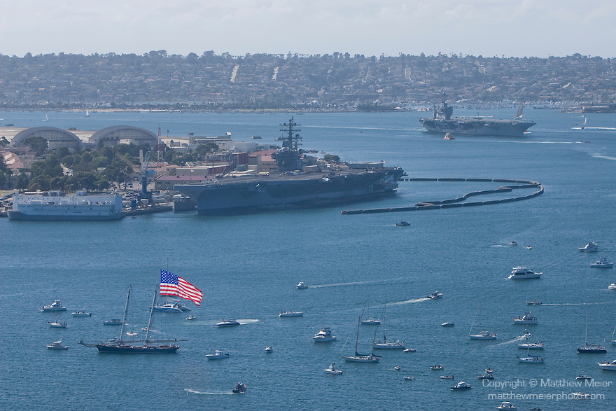 San Diego, California; the aircraft carrier, USS Abraham Lincoln, returns to port after a deployment at sea, it's return coincided with the start of the Fleet Week celebration, viewed from atop the Manchester Hilton Hotel