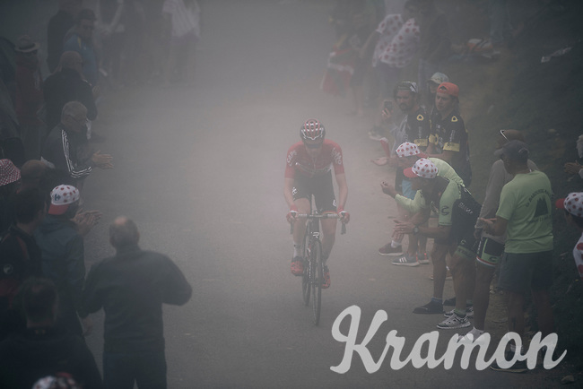 Tim Wellens (BEL/Lotto-Soudal) up the misty Port de Bal&egrave;s (HC/1755m/11.7km/7.7%)<br /> <br /> 104th Tour de France 2017<br /> Stage 12 - Pau &rsaquo; Peyragudes (214km)