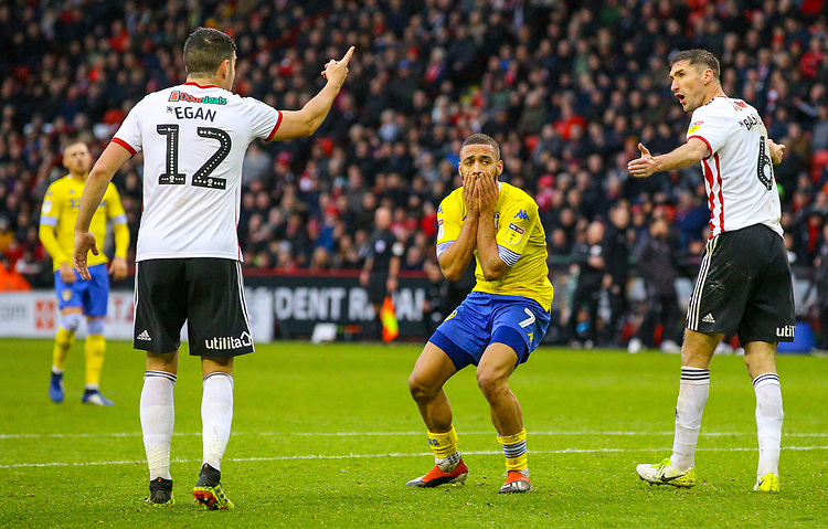 Leeds United's Kemar Roofe rues a missed opportunity<br /> <br /> Photographer Alex Dodd/CameraSport<br /> <br /> The EFL Sky Bet Championship - Sheffield United v Leeds United - Saturday 1st December 2018 - Bramall Lane - Sheffield<br /> <br /> World Copyright © 2018 CameraSport. All rights reserved. 43 Linden Ave. Countesthorpe. Leicester. England. LE8 5PG - Tel: +44 (0) 116 277 4147 - admin@camerasport.com - www.camerasport.com